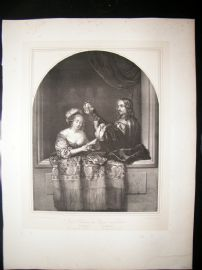 After Caspar Netscher C1840 LG Folio Print. Singing Lady & Lute Player